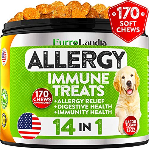 FurroLandia Allergy Relief Immune Supplement for Dogs - for Seasonal & Food Allergies - Skin Itch, Hot Spots and More - Supports Digestive & Skin Health - Pet-Safe - Made in USA - 170 Chews Treats