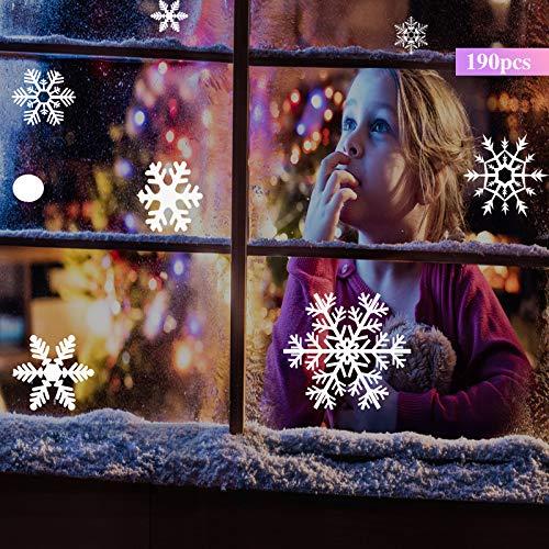 190 Schneeflocken Fensterbilder,fensterbilder weihnachten selbstklebend,Fensterdekoration, Weihnachten Aufkleber, Schneeflocken Aufkleber, Fensterdekorationen für Weihnachts- und Winterdekorationen.