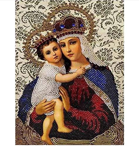 Punto De Cruz Diy 5D Pintura Diamante 2019 Bordado Rebordear Con Cuentas Jesús Virgen María Bordado De Diamantes Religión Figuras 40x50cm/16x20in
