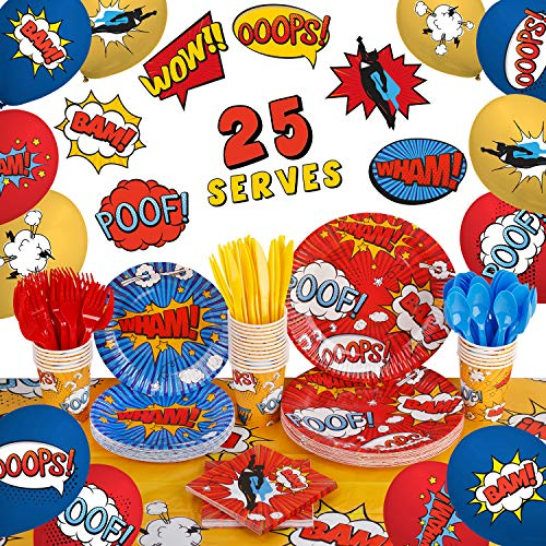 Superhero Birthday Party Supplies by Aliza | Baby Boy Toddler Kids Birthday Super Hero Decorations – Cups Plates Signs Napkins Balloons Tablecloth Utensils – Decorations for Boys and Girls – Serves 25