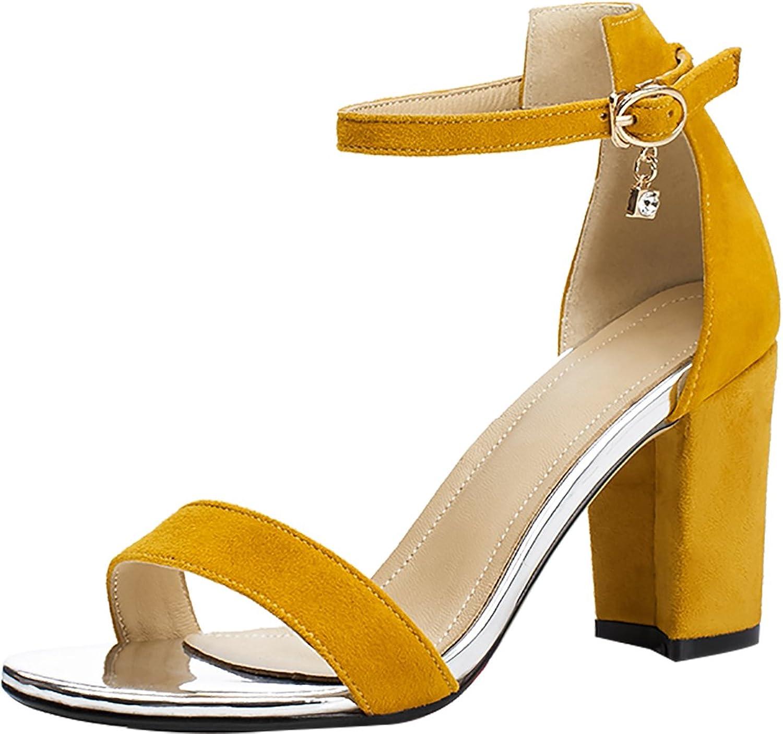 Calaier Womens Salaq Open-Toe 6CM Block Heel Buckle Sandals shoes