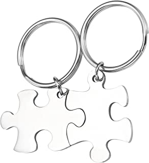 PiercingJ 2-8pcs Women Men Stainless Steel Keychain Couple Keychains Puzzle Matching Jewelry Dog Tag Pendant Key Chain for Couples Best Friend Family