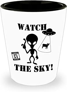Watch The Sky Aliens UFO Area 51 Shot Glass Man Cave Gift