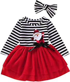 ? LATINDAY ? Toddler Girl Halloween Costumes Kids Long Sleeve Pumpkin Striped Tulle Dress Skirts with Headband Outfits Sets