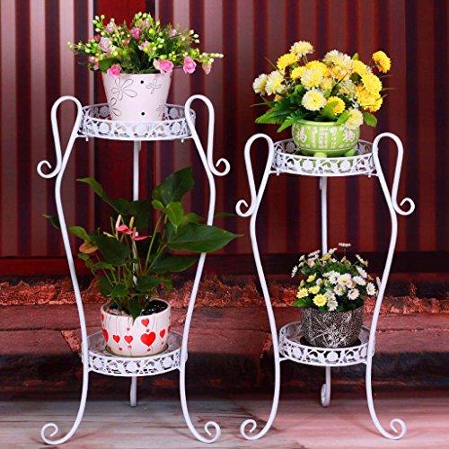 Ali@ Étagère de fleur de balcon de plancher de cadre de fleur de style européen multi - étages Pots (Couleur : Blanc, taille : 32 * 21.5 * 66cm)