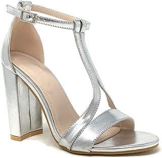 Angkorly - Chaussure Mode Sandale Escarpin Chic soirée Glamour Femme Strass Diamant Boucle lanière Talon Haut Bloc 9.5 CM