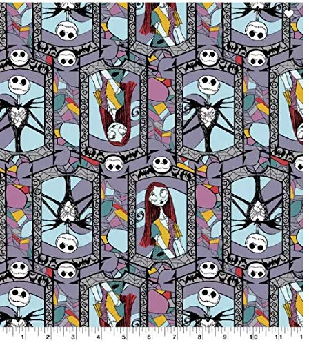 Nightmare Before Christmas Fabric Sally and Jack Stained Glass Sold by 1/2 of a Yard.