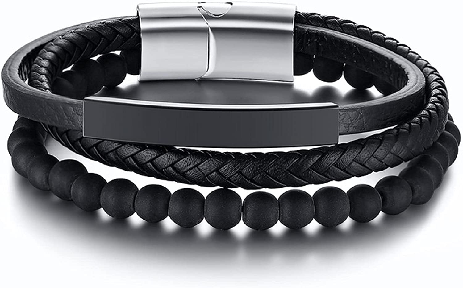 TempBeau Multi-Layer Leather Bracelet with Natural Bead Stone Strand, Braided Leather Wristbands, Stainless Steel Magnetic Clasp Wrap Cuff for Men Women Jewelry
