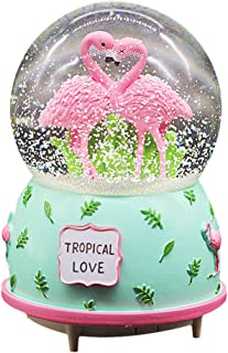 Agyvvt Flamingo 3D Snow Crystal Ball Music Box Glass Glitter 6 x 4 inch Best Gift for Girlfriend Baby Girls Home Decor(Green)
