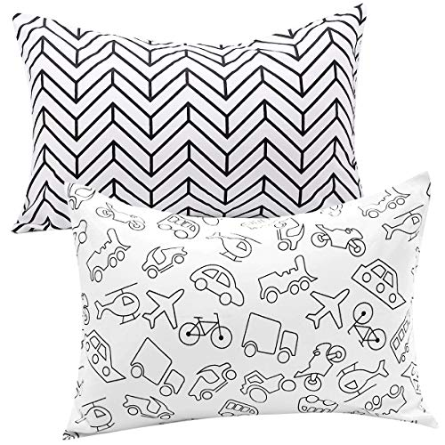 UOMNY Kids Toddler Pillowcases 2 Pack 100% Cotton Pillow Cover Pillowslip Case Fits Pillows sizesd 13 x 18 or 12x 16 for Kids Bedding Pillow Cover Baby Pillow Cases Kids' Pillowcases Car
