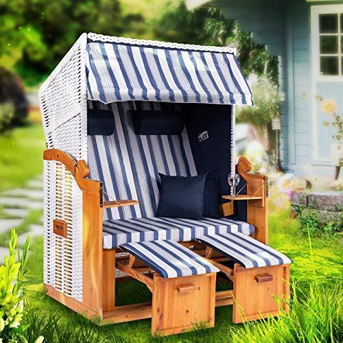 Strandkorb Ostsee XXL Volllieger 2 Sitzer - 120 cm breit - weiß blau gestreift inklusive Schutzhülle, ideal für Garten und Terrasse