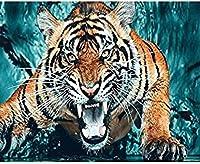 NC68 Diy 5Dダイヤモンドペインティングアートフルドリルセット番号キット大人用クロスステッチキット轟音タイガークリスタル刺繡写真家の装飾用12x16インチ(フレームレス)