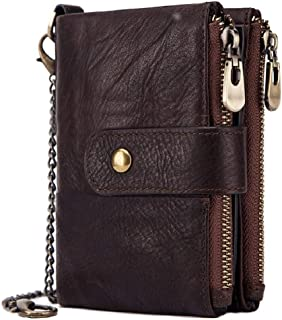 HorsePower 100% Genuine Leather Men Wallet Coin Purse Small Mini Card Holder Chain Men Wallet (Brown)