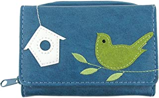 LAVISHY bird applique vegan/faux leather small trifold wallet