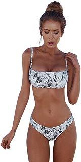 Hunzed Women【Strapless Printed Bikini】 Women 2 Piece Off Shoulder Leaves Printed Bikini with Low Waisted