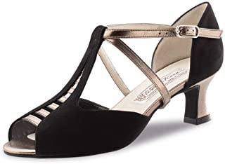 Werner Kern - Mujeres Zapatos de Baile Holly - Ante Negro/Chevro Antiguo - 6,5 cm