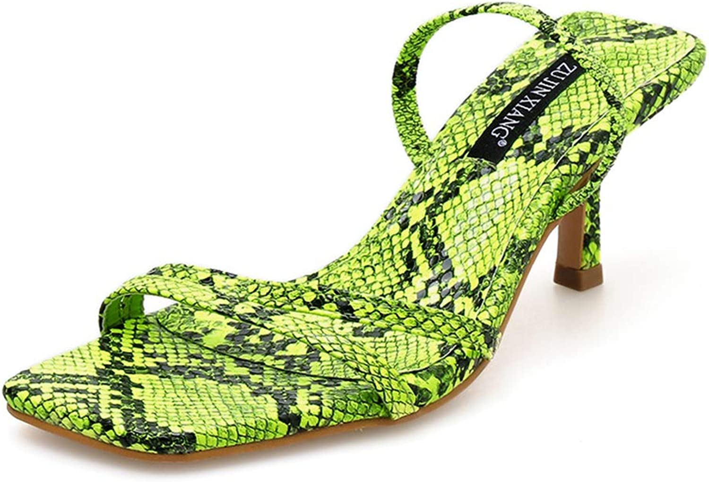 SaraIris Womens Open Toe Mid Heel Snakeskin Pattern Slingback Sandals
