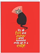 Catty Cards - Funny Get Well Greeting Card with Envelope (Large 8.5 x 11 Inch) - Cute Black Pet Cat, Adorable Feel Better Card From All of Us - Greeting Card for Surgery, Sick, Hospital J6558BGWG-US