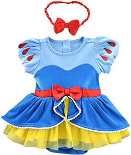 IZKIZF Baby Girls Snow White Belle Sofia Birthday Princess Christmas Halloween Costume Bodysuit Romper Tutu Dress w/Headband