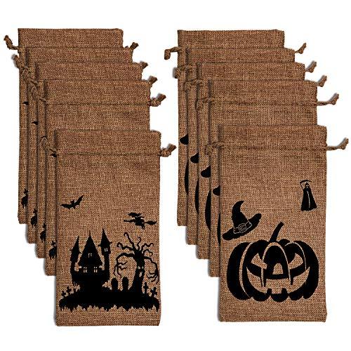 LUTER 10 Paquete Bolsas de Arpillera de Halloween Bolsas de Truco o Trato Bolsas de Arpillera Bolsas de Regalo con Cordón para Fiesta Dulces Galletas Regalos de Golosinas (15 x 20 cm)