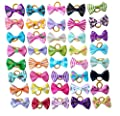 PET SHOW Small Dog Hair Bows Topknot with Rubber Bands Cat Puppy Pets Headdress Grooming Hair Accessories Color Assorted Randomly (100pcs)