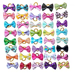 PET SHOW Small Dog Hair Bows Topknot with Rubber Bands Cat Puppy Pets Headdress Grooming Hair Accessories Color Assorted Randomly