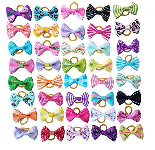 PET SHOW Pet Dog Hair Bows With Rubber Bands Cat Puppy Grooming Hair Accessories Pack of 50