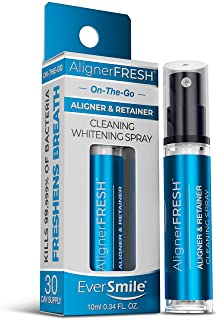 AlignerFresh Portable WhiteFoam Spray | Retainer & Invisalign Compatible Cleaner Spray - On The Go Aligner Cleaning & Teeth Whitening. Kills Bacteria & Freshens Bad Breath. Mint Flavored (1 Pack)