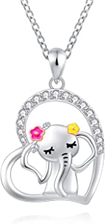 ACJNA 925 Sterling Silver Heart Elephant Pendant Necklace Good Luck Dream Gift Jewelry for Women Girlfriend
