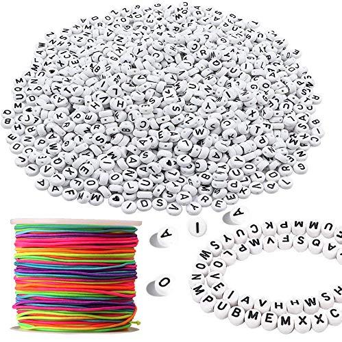 TWSTYFAL 1200 Stück Buchstabenperlen zum Auffädeln mit 50 m Elastisch Regenbogen Schnur Bunt Rund Buchstaben Perlen Bastelset für Kinder für Armband Haarband Schmuck Basteln