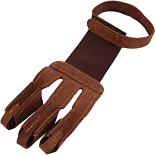 Yuehuam Arm Guard Finger Protective Gloves 3-Finger Design Archery Protect Glove Pull Bow Arrow Archery Shooting Glove Lea...