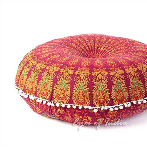 Eyes of India - 32' Bordeaux Rouge Mandala Coussin DE Sol SIÈGES Housse Coussin Hippie décorative bohémien Indienne Boho