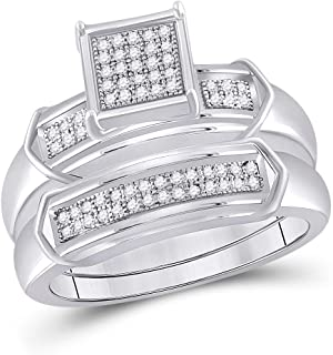 FB Jewels 925 Sterling Silver Womens Round Diamond Square Bridal Wedding Engagement Ring Set 1/5 Cttw Size 7 (Primary Ston...