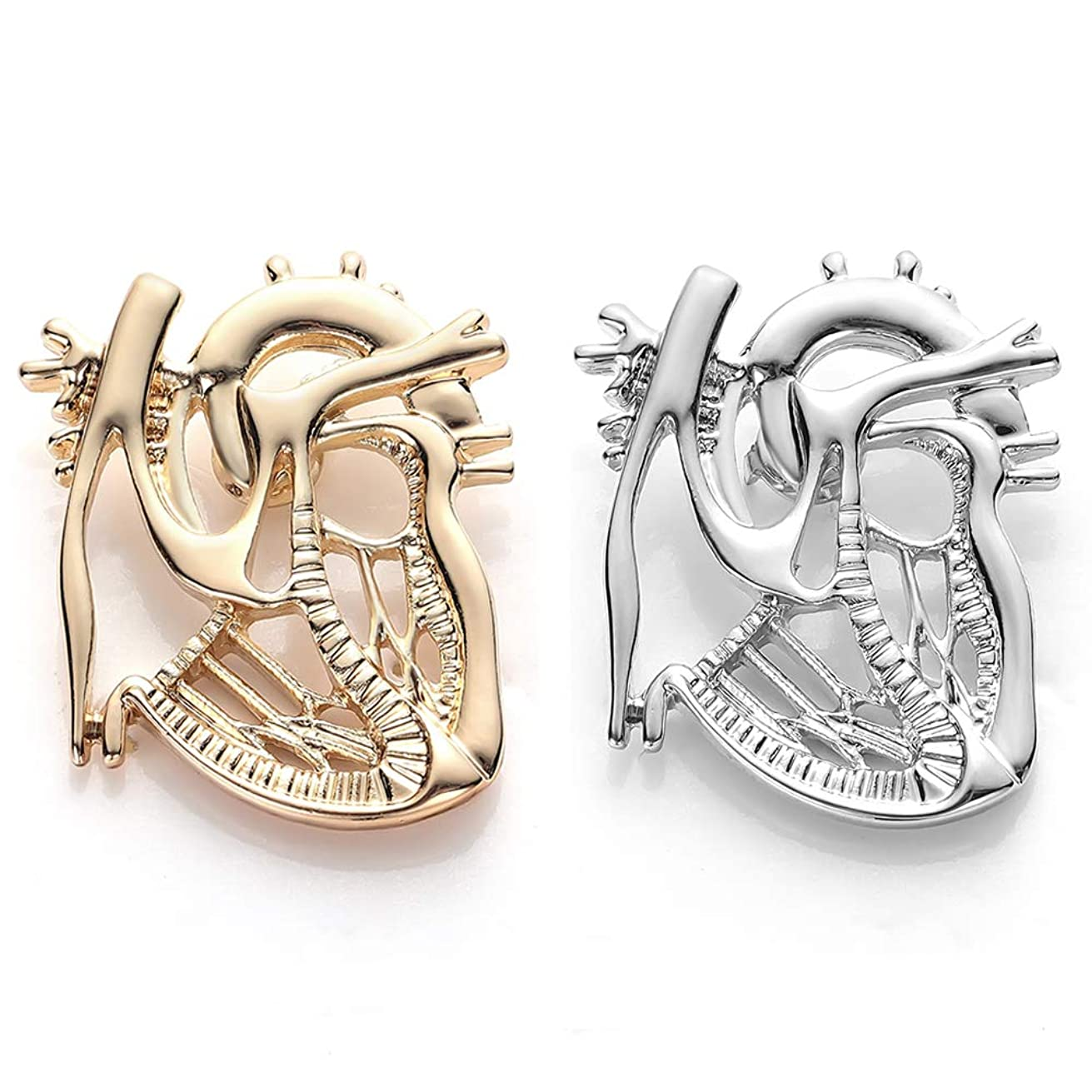 hanreshe Heart Shape Brooch Pin 2 Pieces Gold Silver Plated Jewelry Gift Doctor Nurse Student Medical Christmas Pin Badge Pins Men