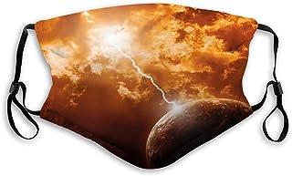Återanvändbar andningsbar tygmask balaclava bandana, surrealistisk måne med blixt och moln dramatisk kosmos galax, ansikts...