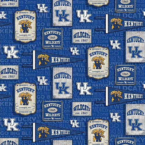 University of Kentucky UK Wildcats Cotton Fabric with Vintage Pennant Design-Sold by The Full Yard