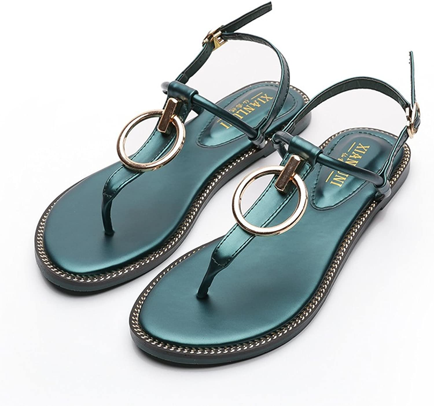 CYBLING Womens T-Strap Thong Ankle Strap Summer Beach Dress Flat Sandals shoes