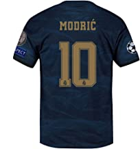 Saint George Real Madrid 2019-2020 New Season #10 Modric Men's Away Soccer Jersey & League Armbands Color Blue (S-XL)