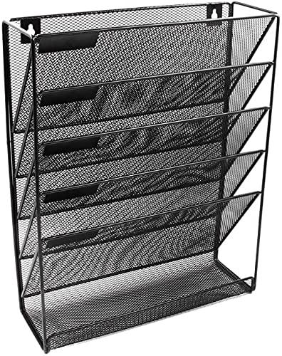 YRHH Revistero De Metal Montado En La Pared con Soporte De Escritorio 5 Capas Archivo De Intervalo De Archivo Revista Cuadernos De Almacenamiento, Negro