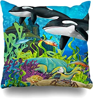 Ahawoso Throw Pillow Cover Orc Whale Underwater Castle Princess Chateau Children Orca Andersen Aquatic Design Ocean Decorative Pillowcase Square 18