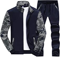Men's Tracksuits, Casual Standing Collar Sweatsuit Spring Fall Long Sleeve Zip-Up Sportswear 2 Piece Track Suits Set,Blue,XXL