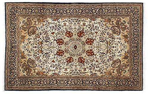 Lifetex.eu Hochwertiger Orientteppich Keshan-Muster (ca. 120x185 cm) Klassisch handgeknüpft Schurwolle (Korkwolle) mit Seide (<5%) Braun Teppich