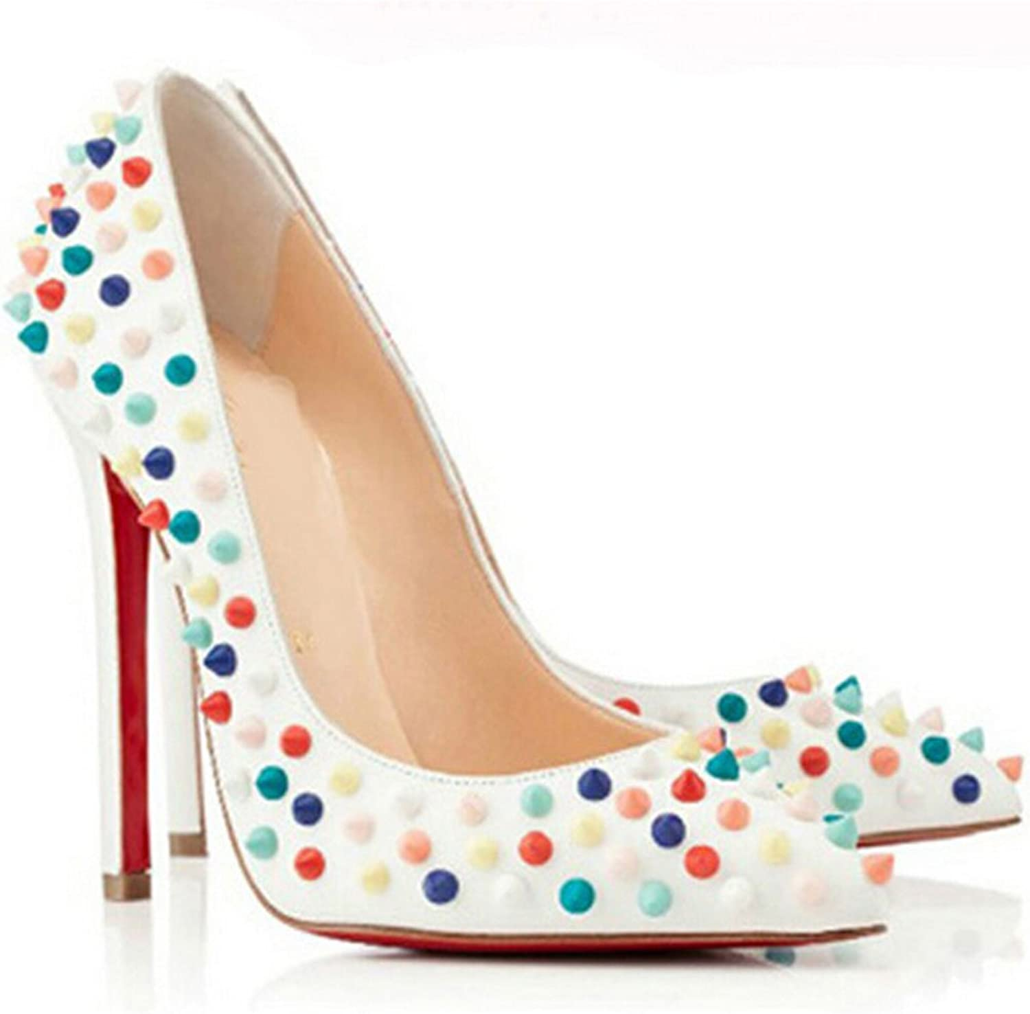 San hojas Patent Leather Pumps with Rivet High Heels Red