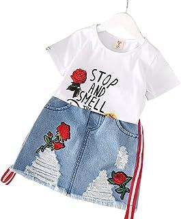 ACHICOO 半袖Tシャツセット デニムスカートセット 服セット 2個/セット キッズ ガールズ 子供 サマー ローズ刺繍