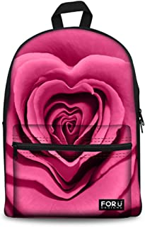 Floral Canvas School Backpack for Teenagers Girls Flower Children Casual Daypack