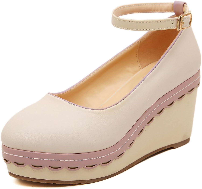 Adelina Women's Bright Candy color Wedge Heel Platform Pumps shoes 1-Apricot 39 EU   7.5-8 US