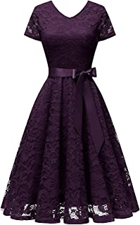 Women's V Neck Floral Lace Cocktail Party Bridesmaid Dress with Sleeves