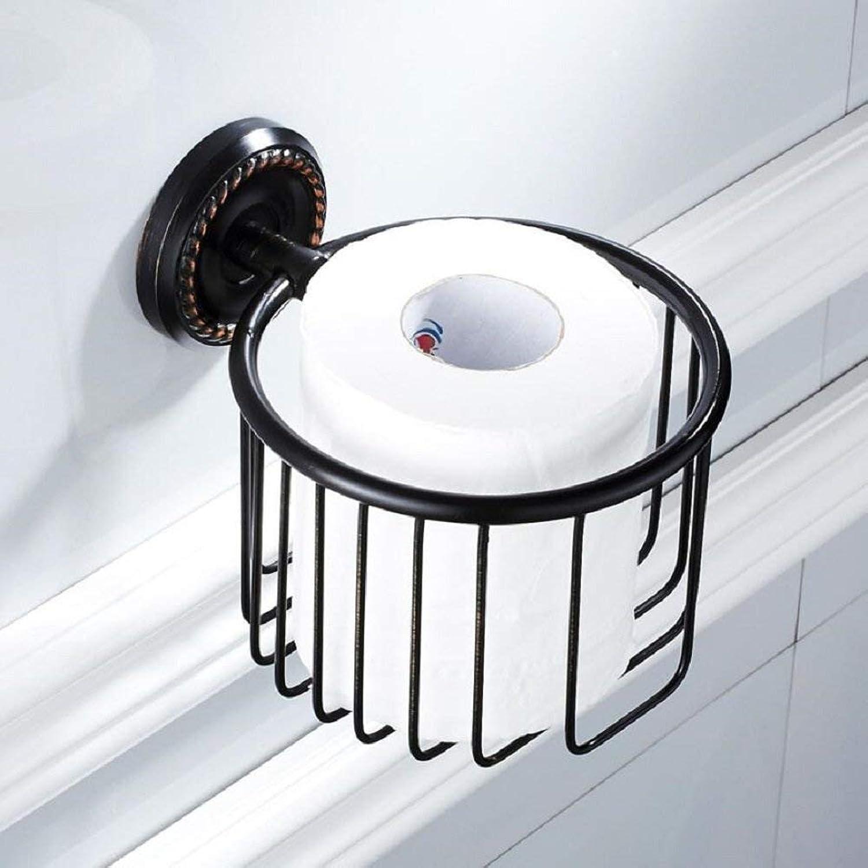 PY American negro Retro Paper Holder Holder, Drill Hole Hardware Instalado Colgante, Papel higiénico Holder Bathroom Papel higiénico Roll Holder Rack, negro