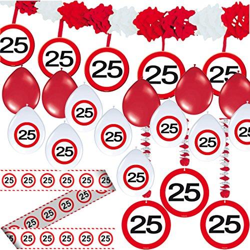 Carpeta 23-TLG. Partyset * 25. Geburtstag * mit Verkehrschild Deko: Girlande + Rotorspiralen + Absperrband und vielen Luftballons Dekoset Dekobox Verkehrsschild