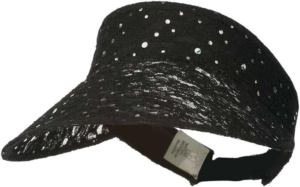 Lace Glitter Sun Visor - Black W40S33D